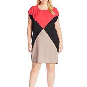 Calvin Klein Color Blocked Cap Sleeve Dress